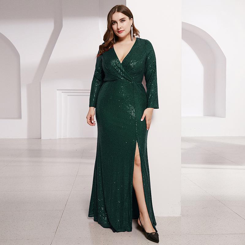 Ever-Pretty US Plus Size V-neck Sequins Long Prom Dress ...