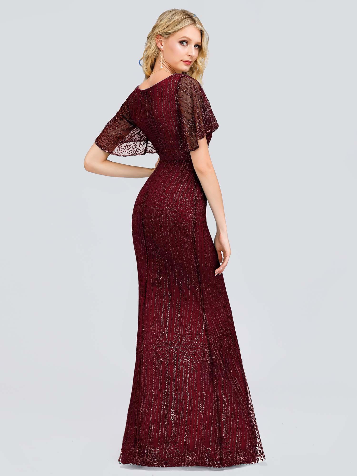 Ever-Pretty US Ruffle Burgundy V-Neck Long Bridesmaid Prom ...