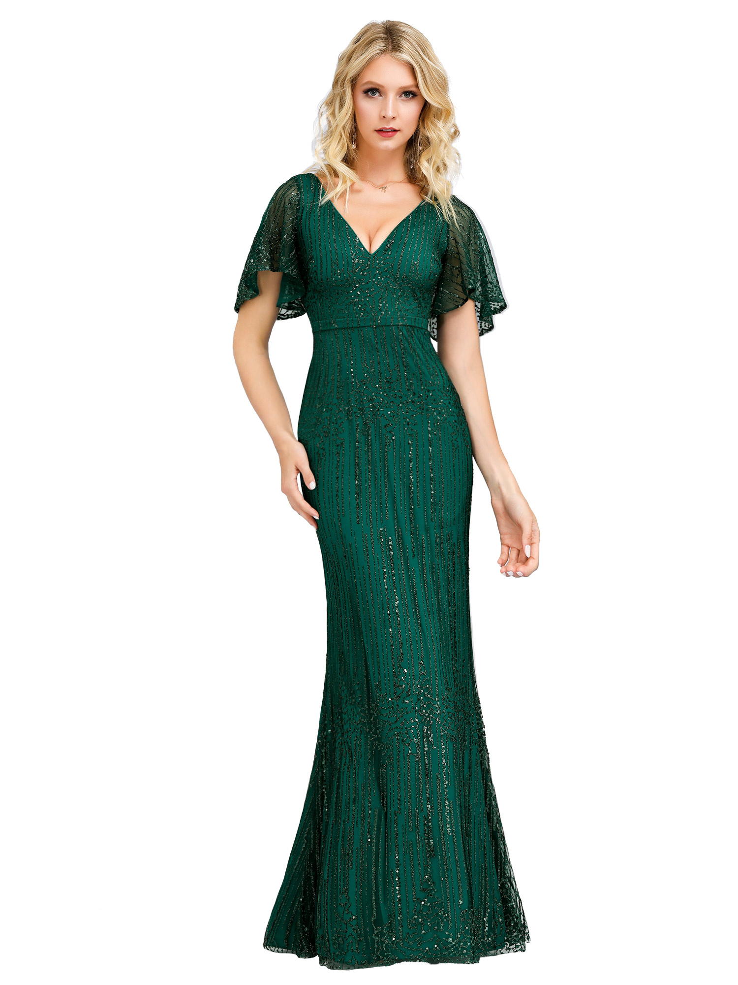 Ever-Pretty US Plus Size V-Neck Sequin Long Evening Prom Dress Wedding Ball Gown