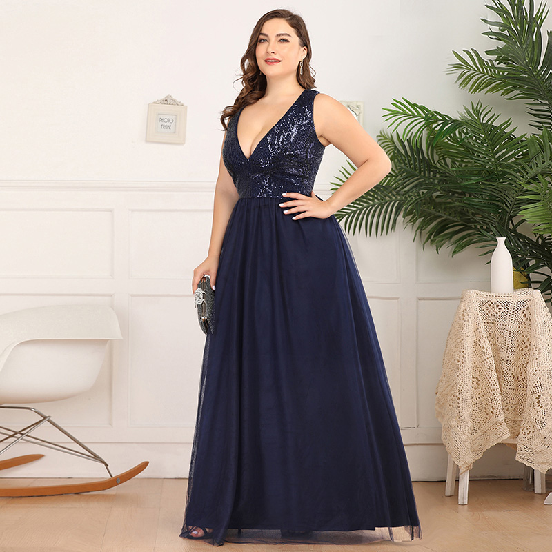 Ever-Pretty US Plus Size Double V-neck Evening Prom Dress ...