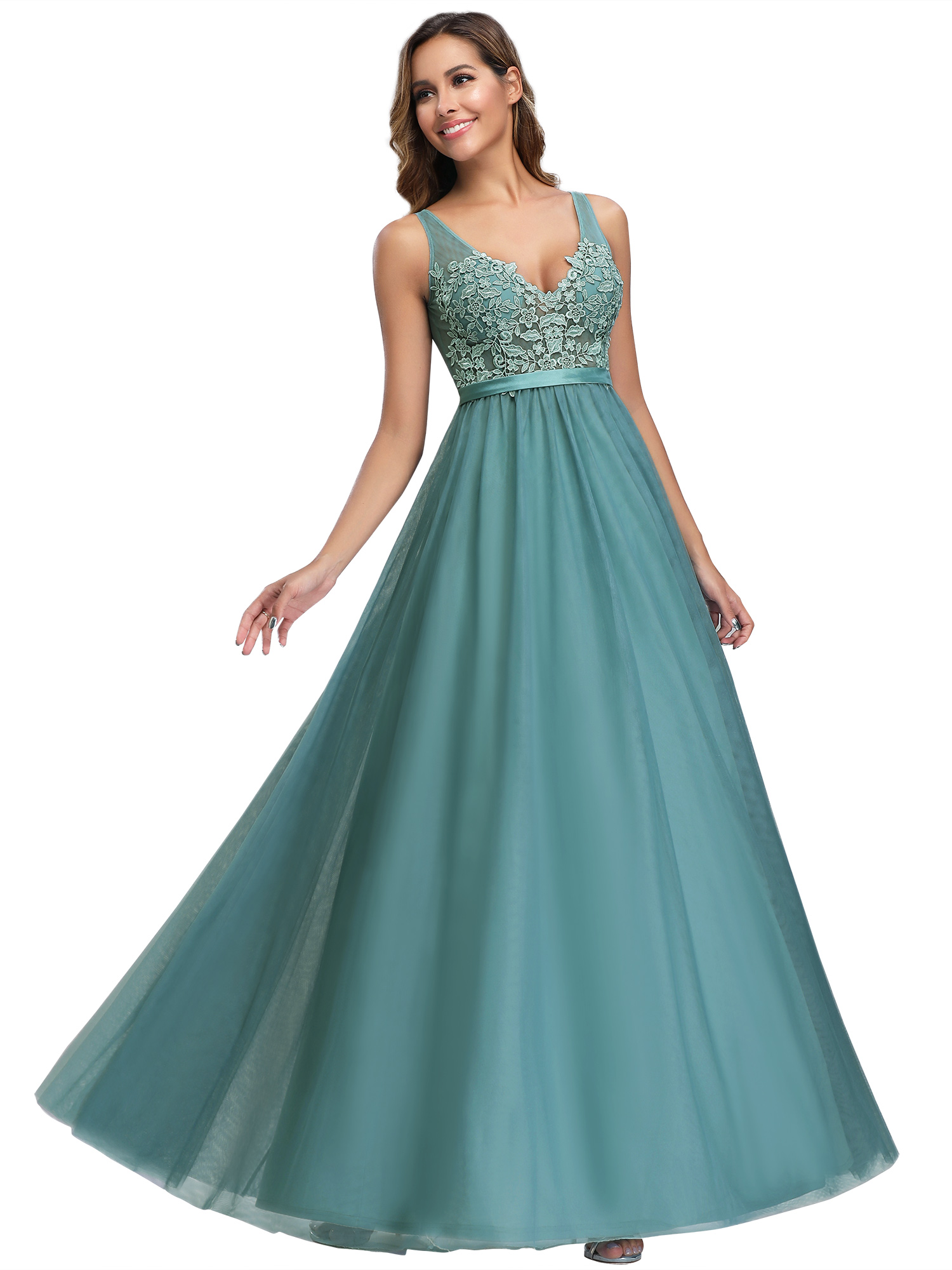 Ever-pretty-Formal-V-neck-Celebrity-Prom-Gown-Long-Evening-A-line-Cocktail-Dress thumbnail 4