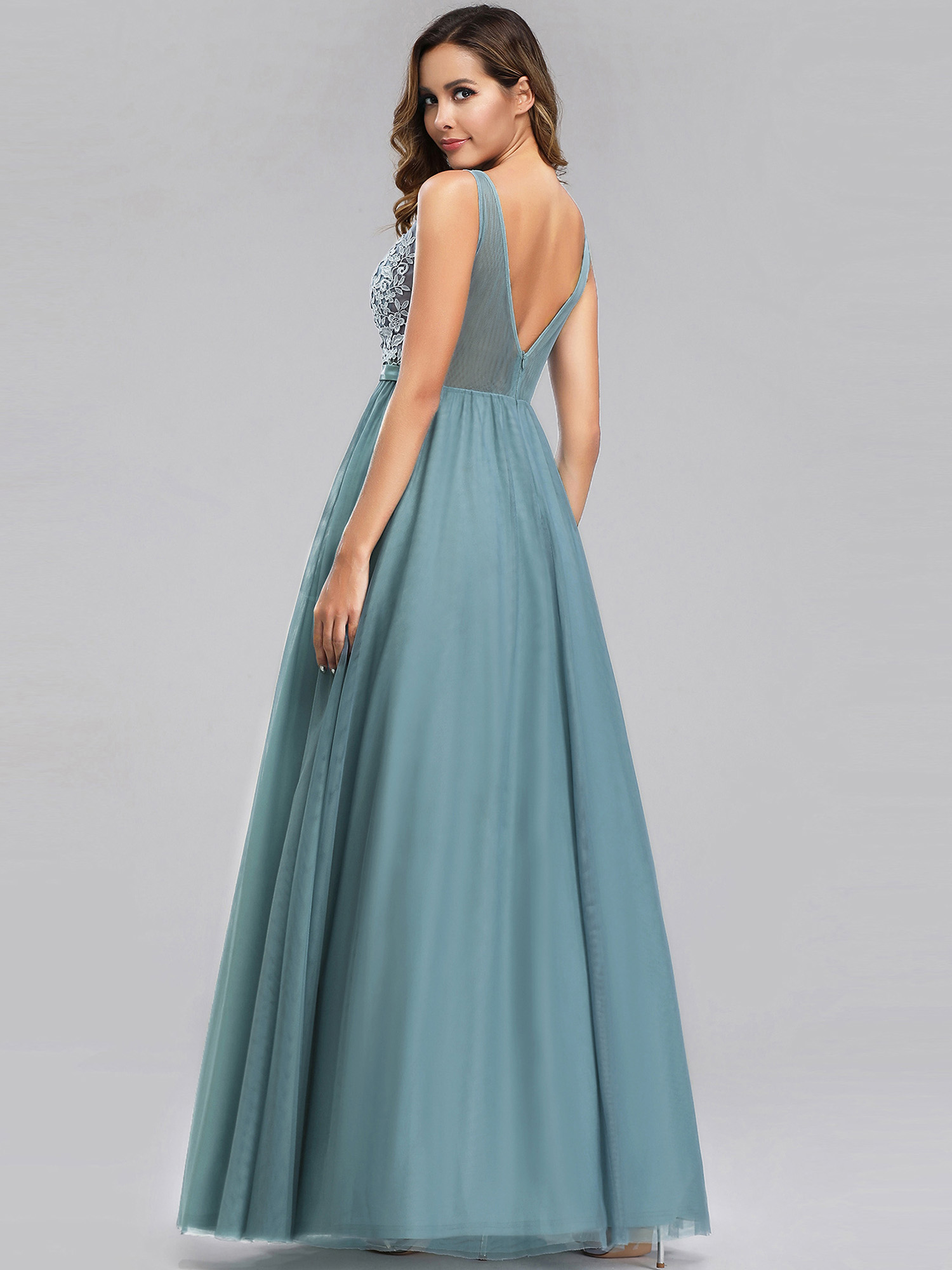 Ever-pretty-Formal-V-neck-Celebrity-Prom-Gown-Long-Evening-A-line-Cocktail-Dress thumbnail 5
