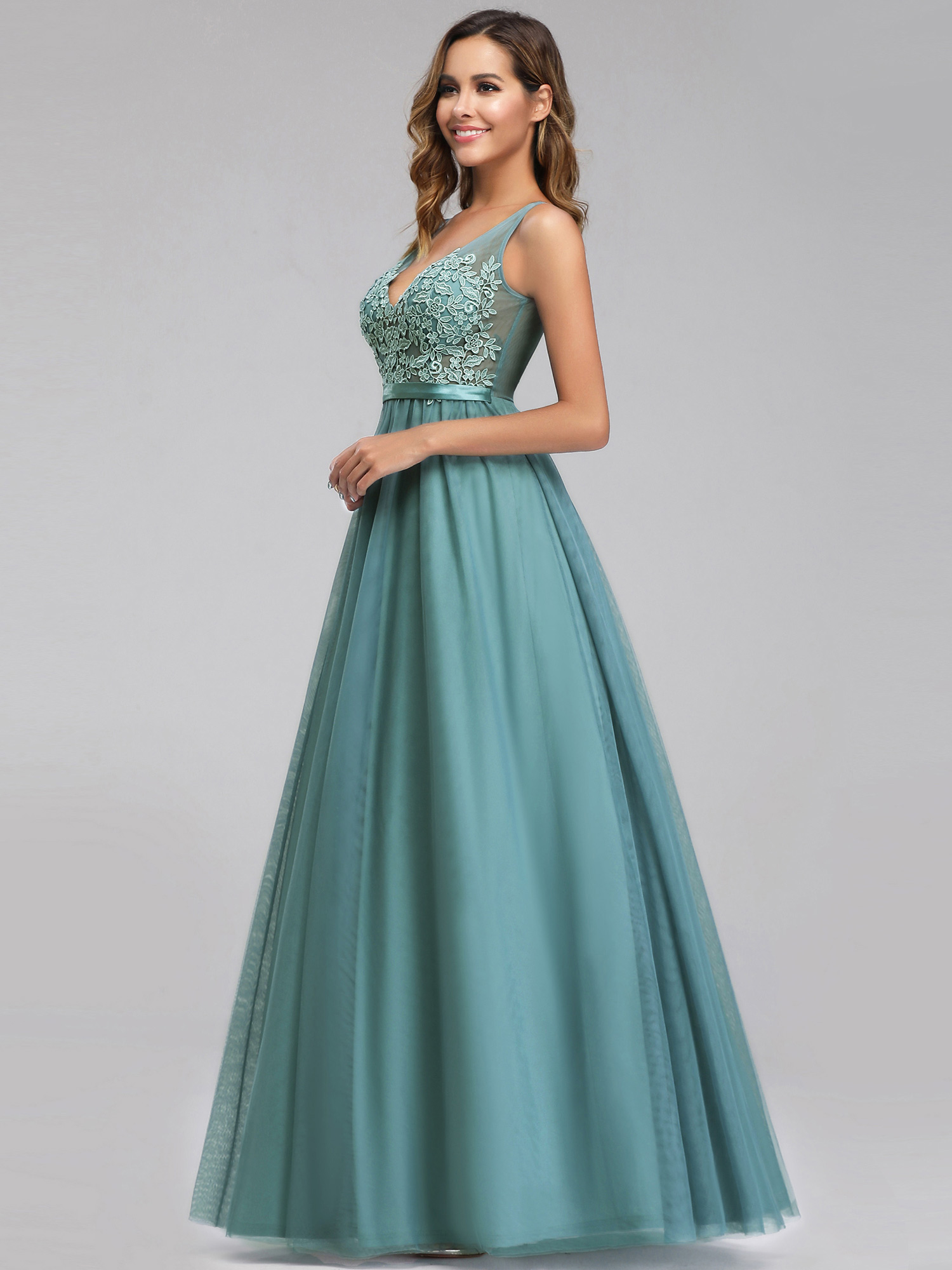 Ever-pretty-Formal-V-neck-Celebrity-Prom-Gown-Long-Evening-A-line-Cocktail-Dress thumbnail 6