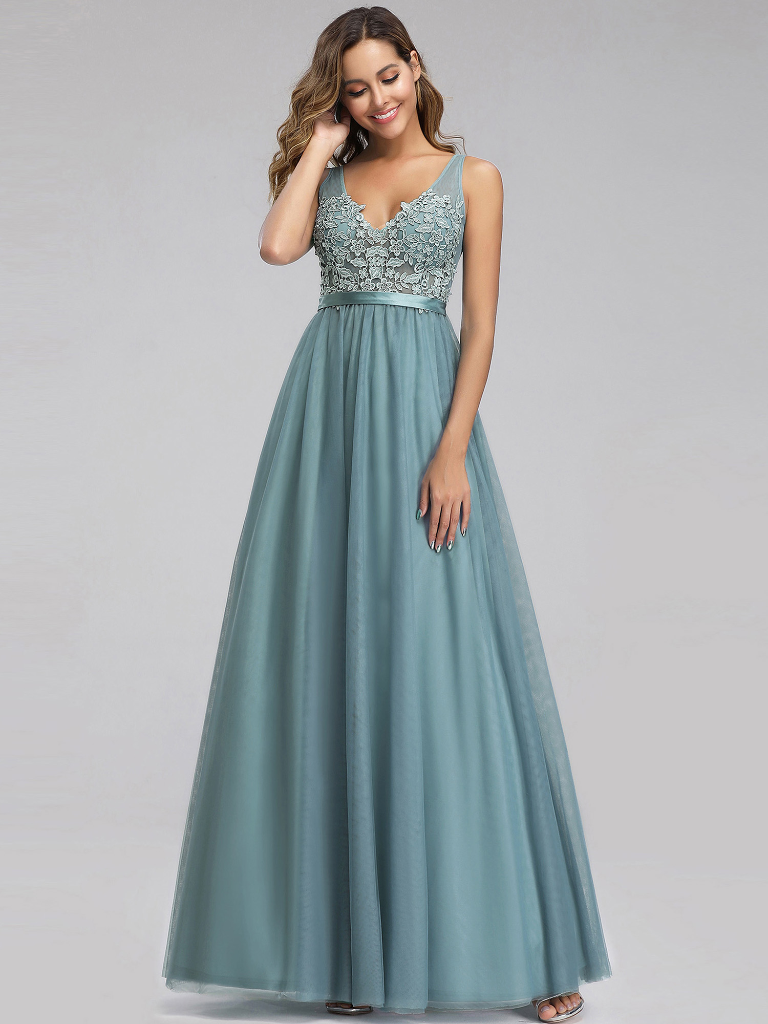 Ever-pretty-Formal-V-neck-Celebrity-Prom-Gown-Long-Evening-A-line-Cocktail-Dress thumbnail 7