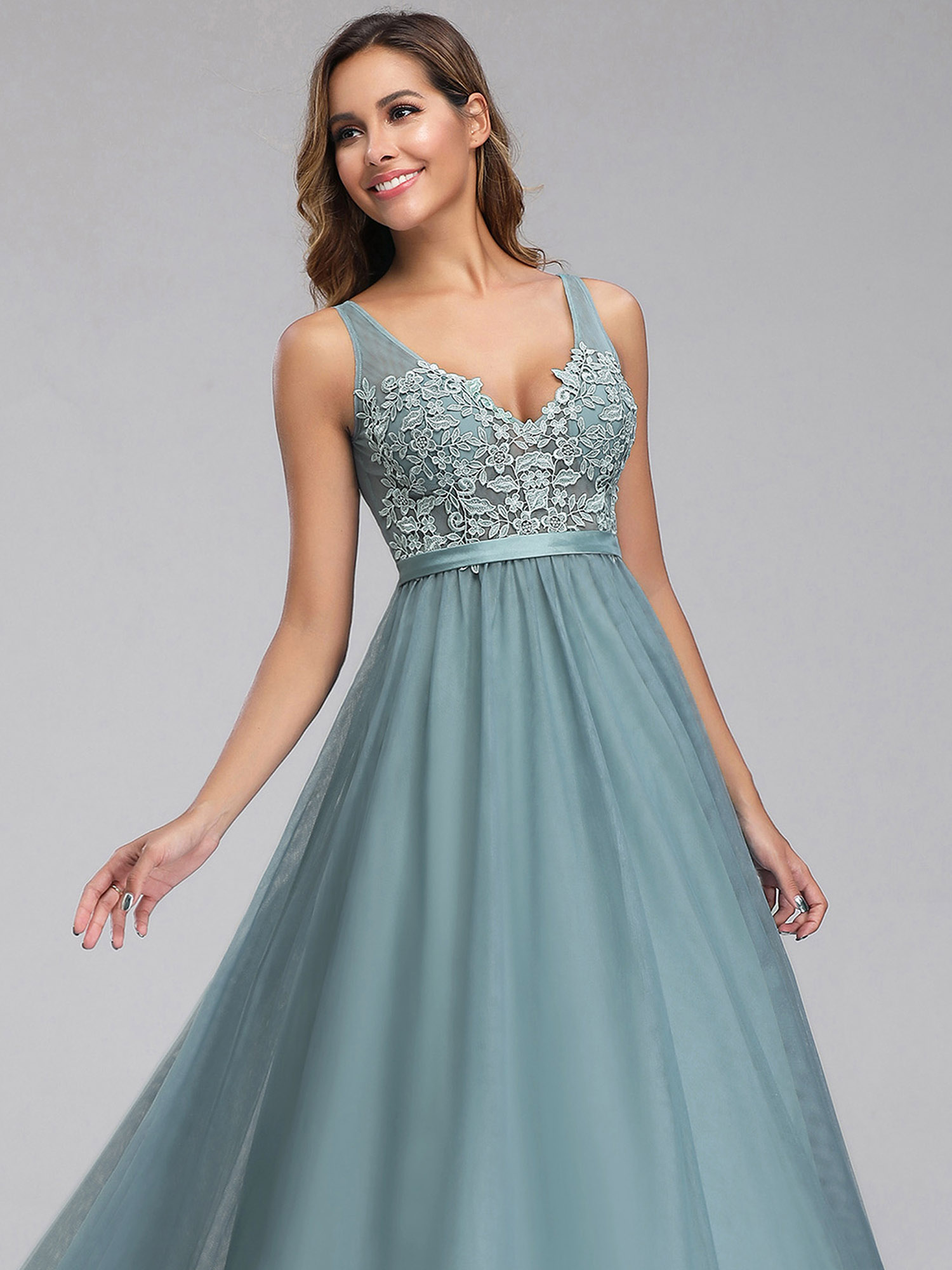 Ever-pretty-Formal-V-neck-Celebrity-Prom-Gown-Long-Evening-A-line-Cocktail-Dress thumbnail 8