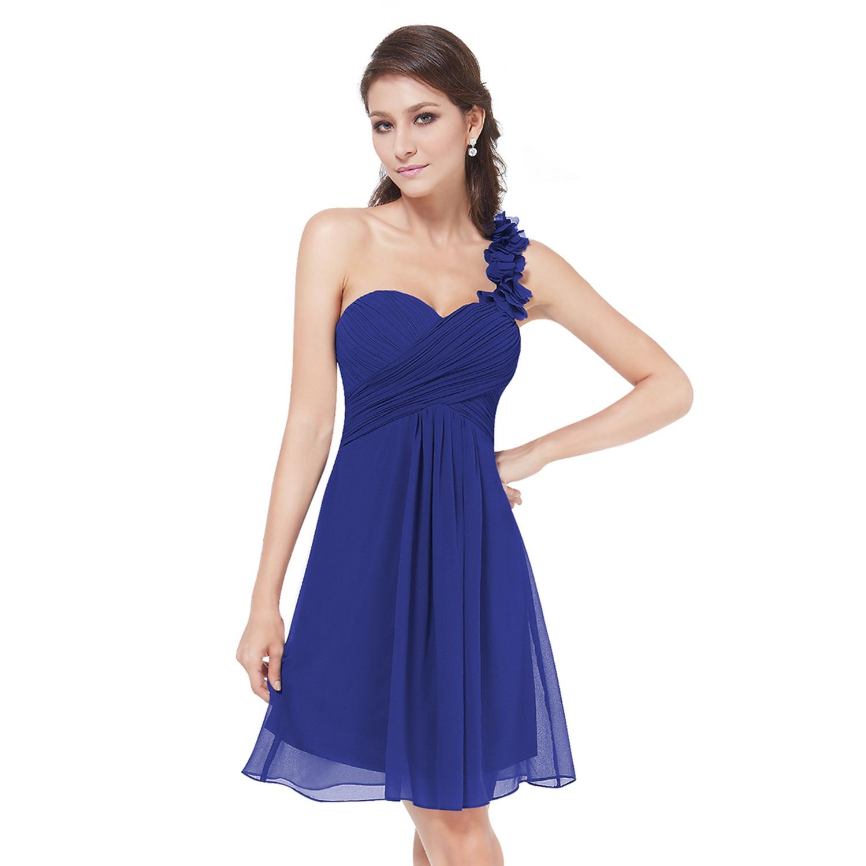 Ever-Pretty Women Short Wedding Dress One Shoulder Bridesmaid ...