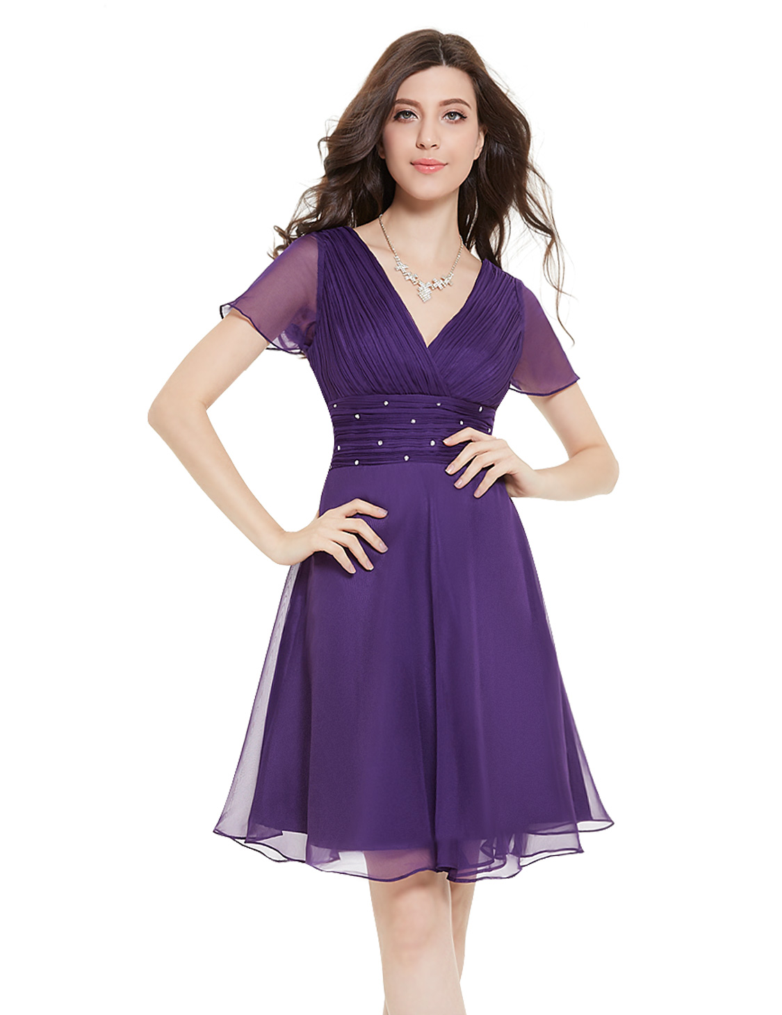 Ever Pretty Short Bridesmaid Dresses V Neck Beaded Cocktail Party ...