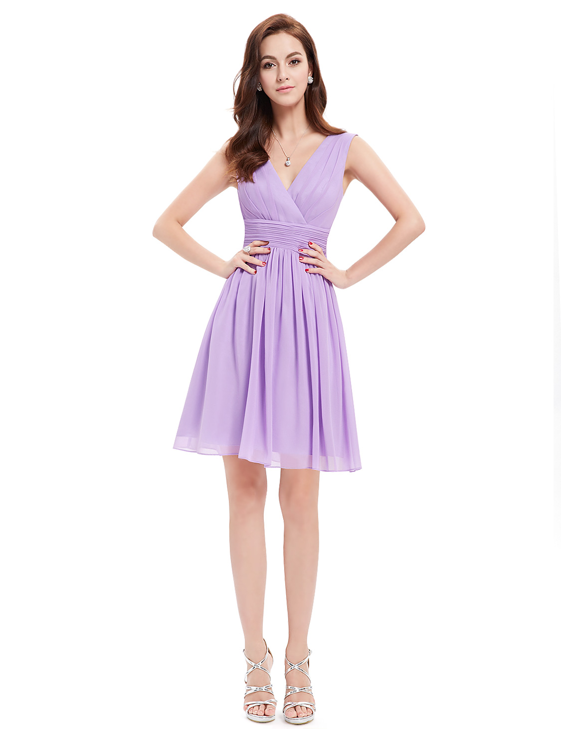 Short Bridesmaid Dress Chiffon V-neck Cocktail Party Dresses 03989 ...