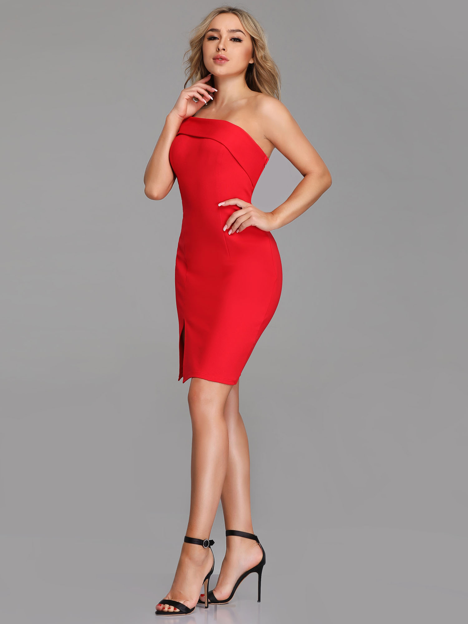 ever pretty us cocktail dress red short clubwear