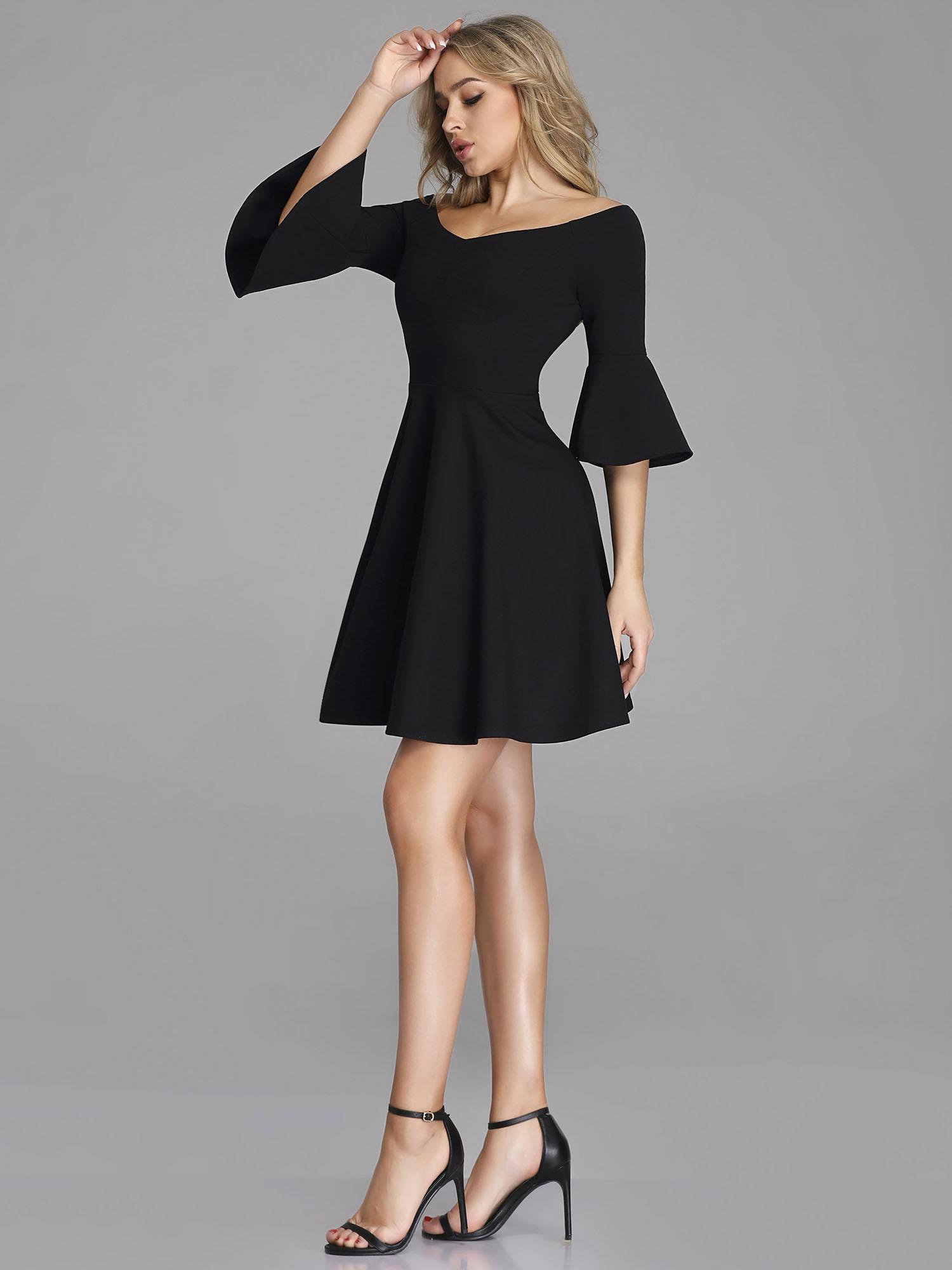Ever-Pretty Short A Line Wedding Dresses Off Shoulder Black Evening ...
