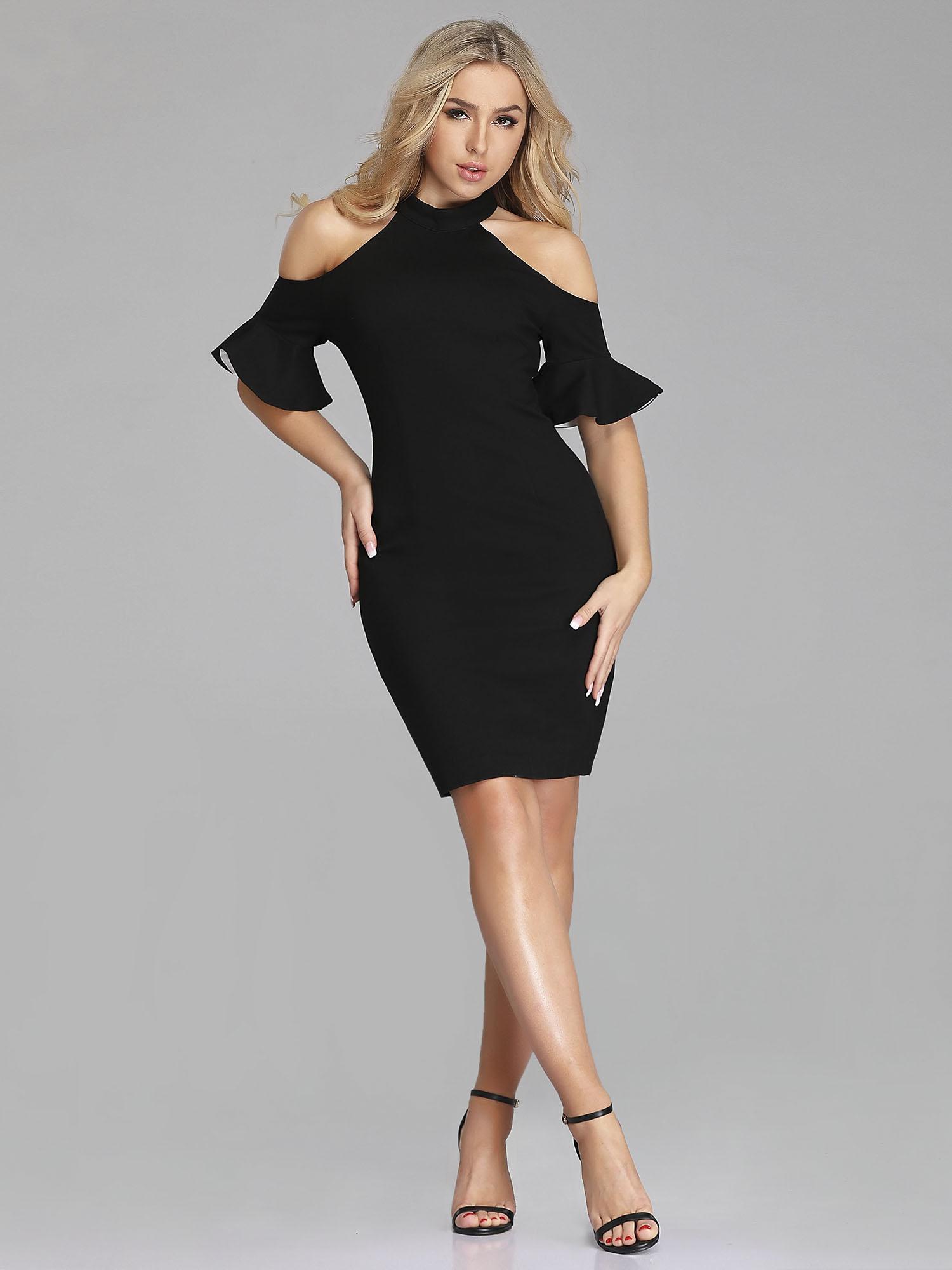 44de8988b740a6 Details about US Short Black Halter Cold-shoulder Bodycon Dresses Cocktail  Party Dress 05884