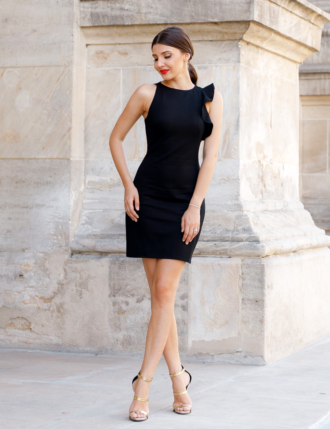 Ever-Pretty Elegant Black Ruffle Evening Dresses Short Cocktail Prom ...