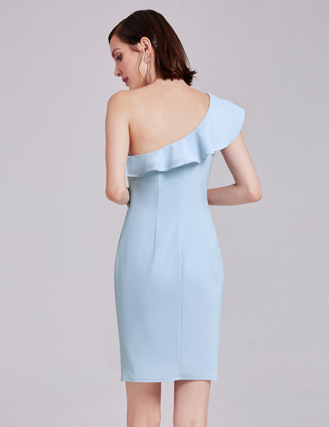 Ever-Pretty Short Sky Blue Evening Gown One Shoulder Ruffle Party ...