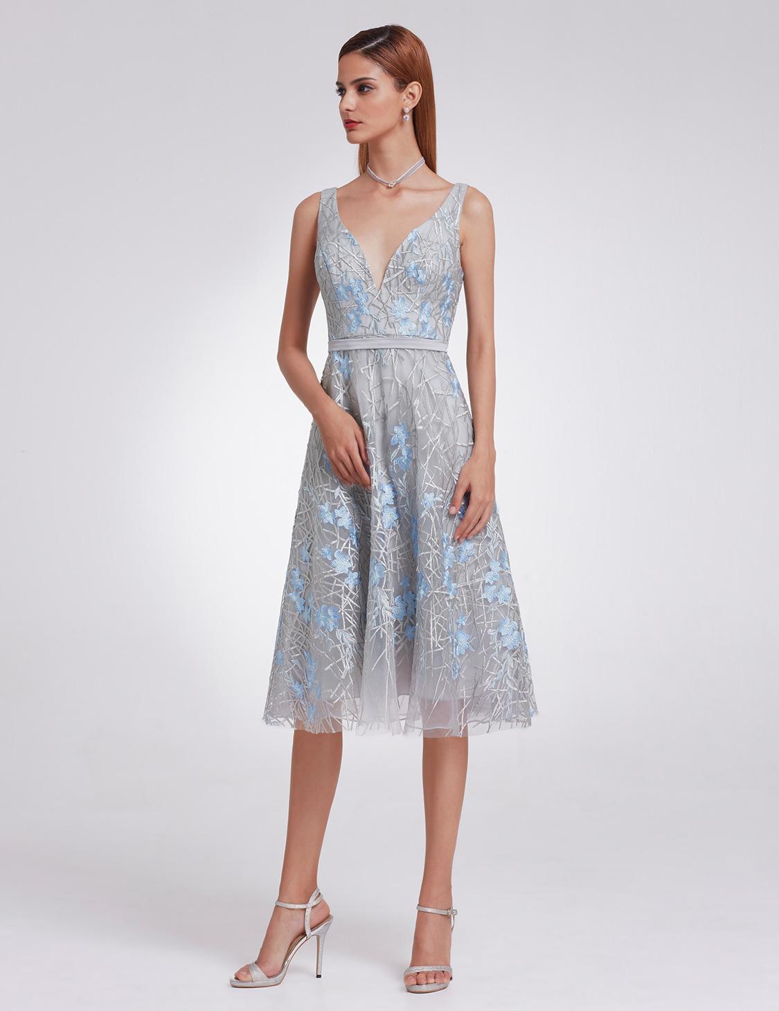 Ever-Pretty Organza Bridesmaid Dresses Formal Grey V Neck Evening ...