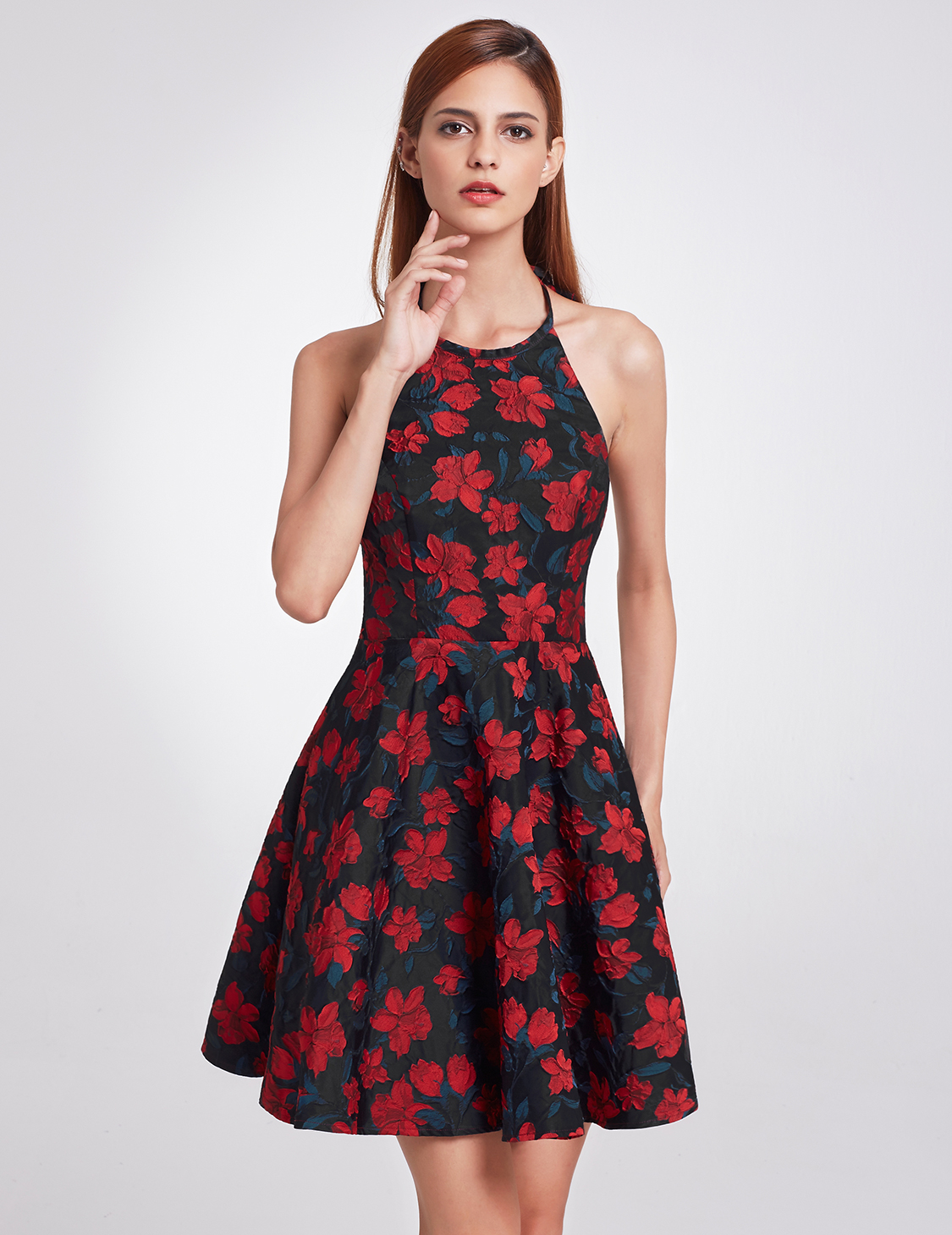 Details about Backless Cocktail Dress Halter Neck Fit and Flare Party Dress 05945 Ever Pretty