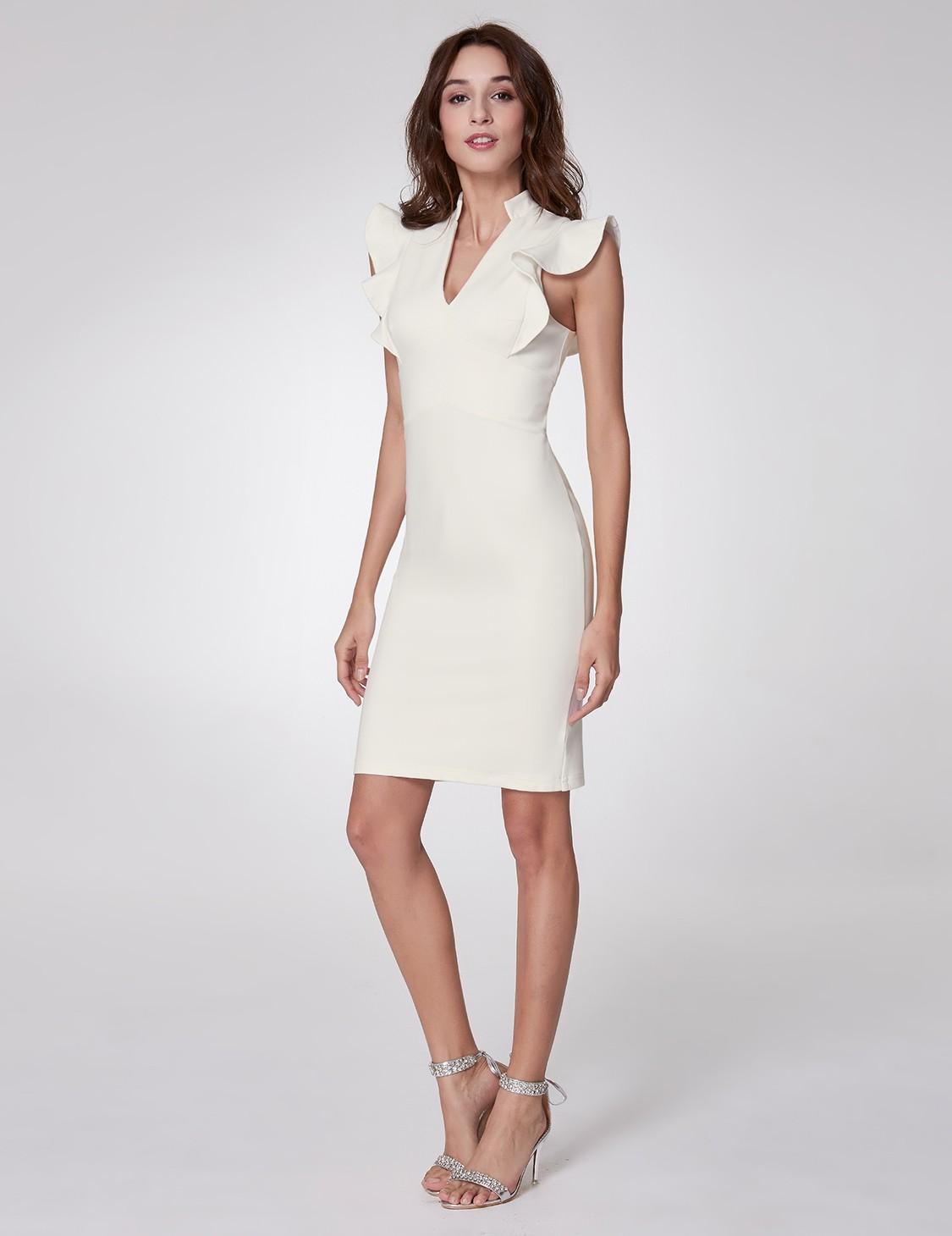 White Cocktail Prom Dress