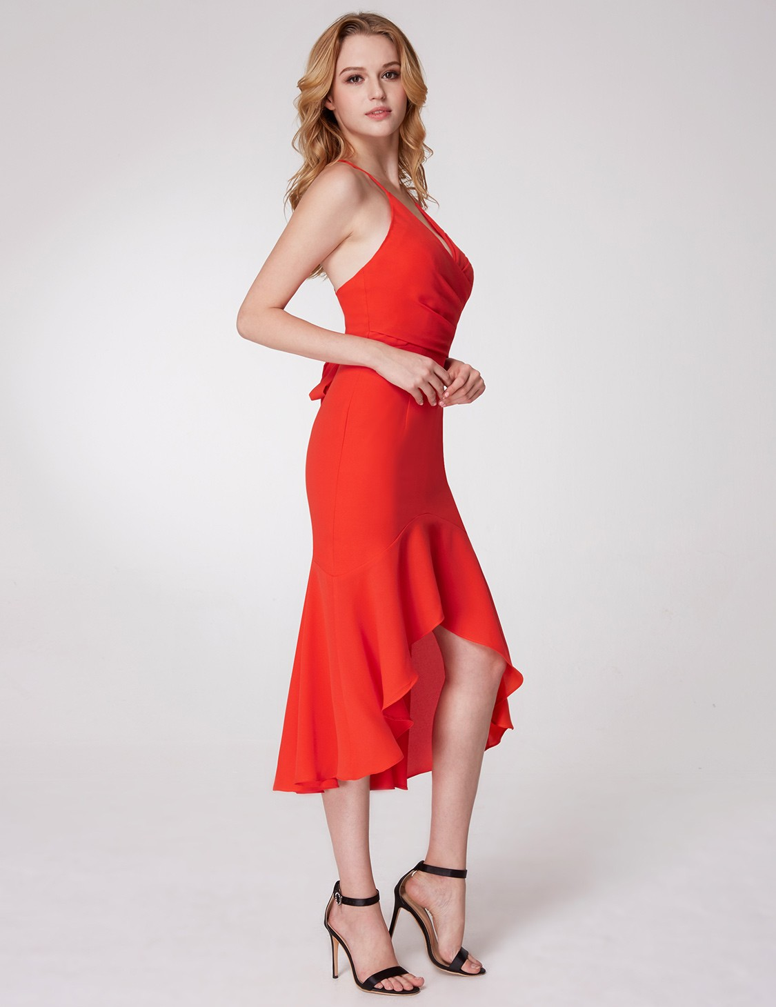 Ever-pretty UK Orange Fishtail Halter Short V-neck Prom Ball Gown ...