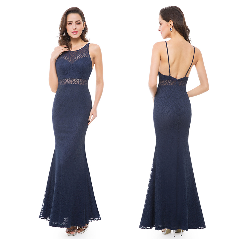 Backless Mermaid Gown: US Mermaid Prom Dresses Backless Blue Lace Long Evening