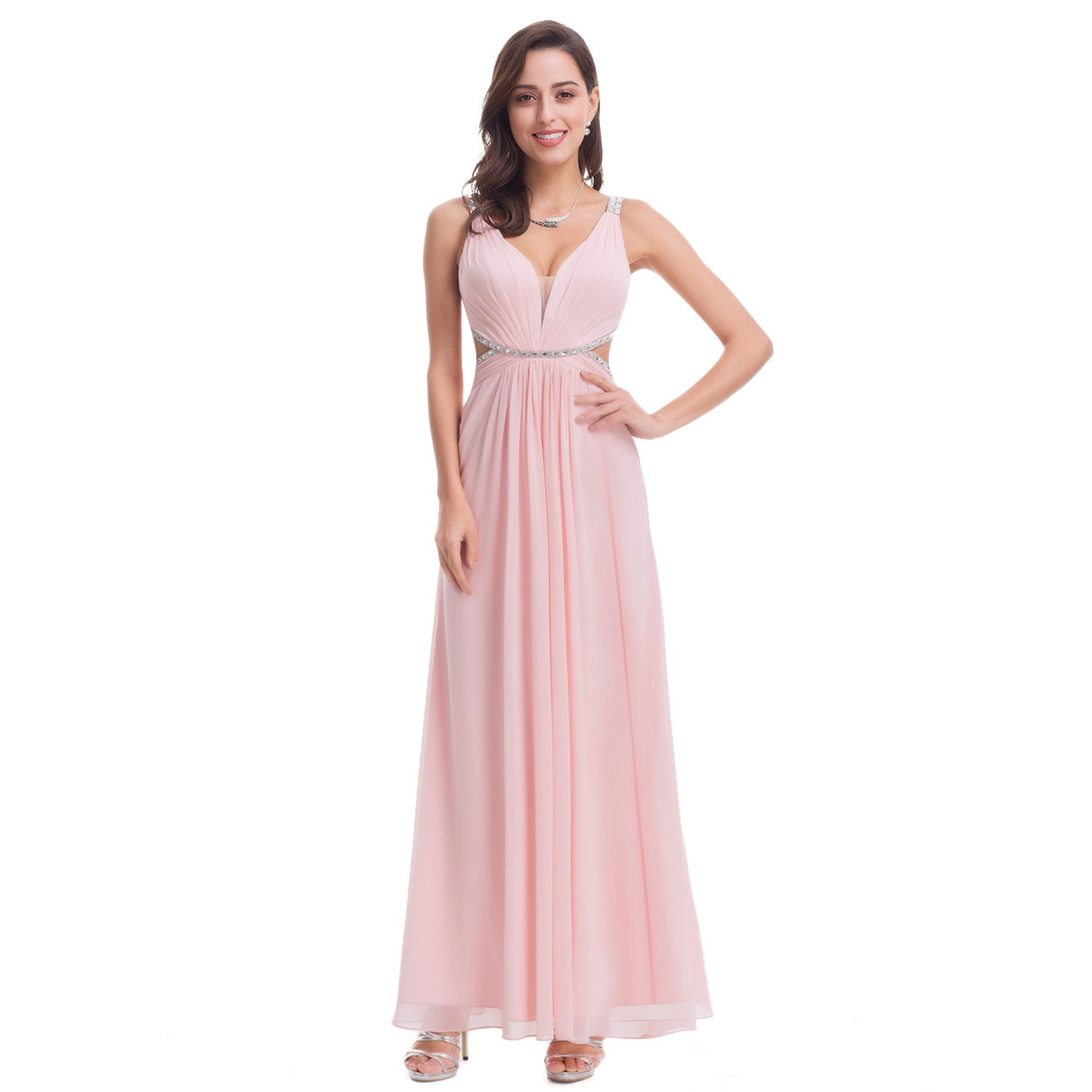 Ever-Pretty Long Formal Dresses Pink Bridesmaid Dress Cocktail Prom ...