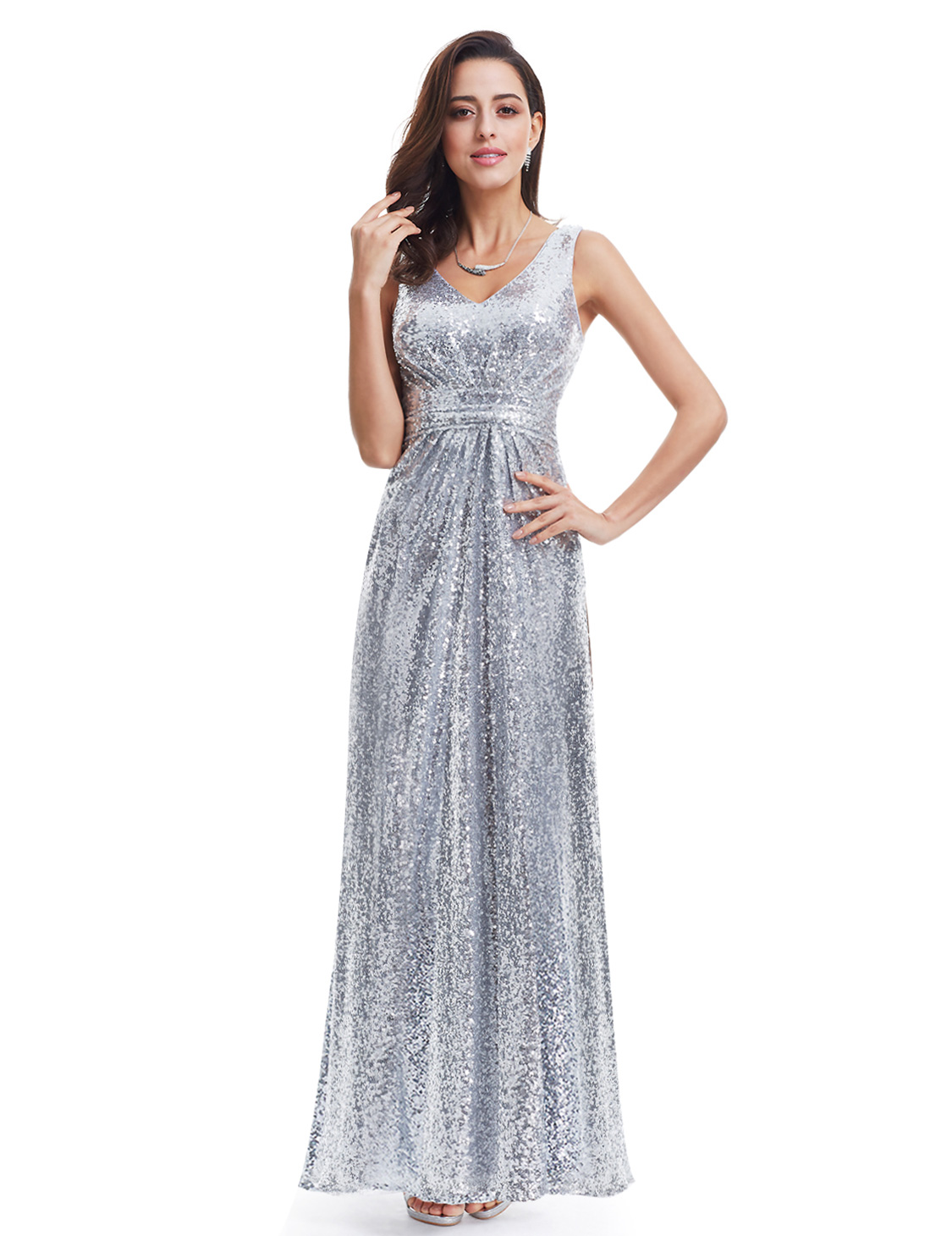 Ever-Pretty UK Silver Sequins Long Evening Dresses Formal Party ...