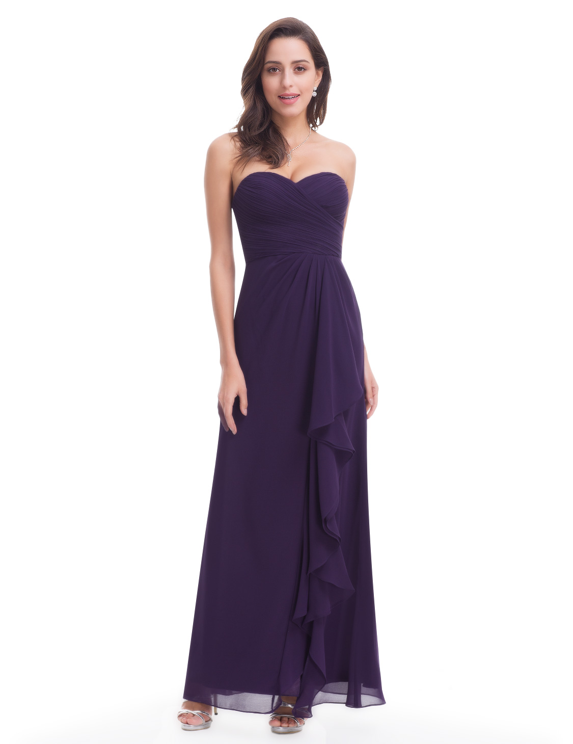 Ever-Pretty Purple Bridesmaid Dresses Strapless Long Backless ...