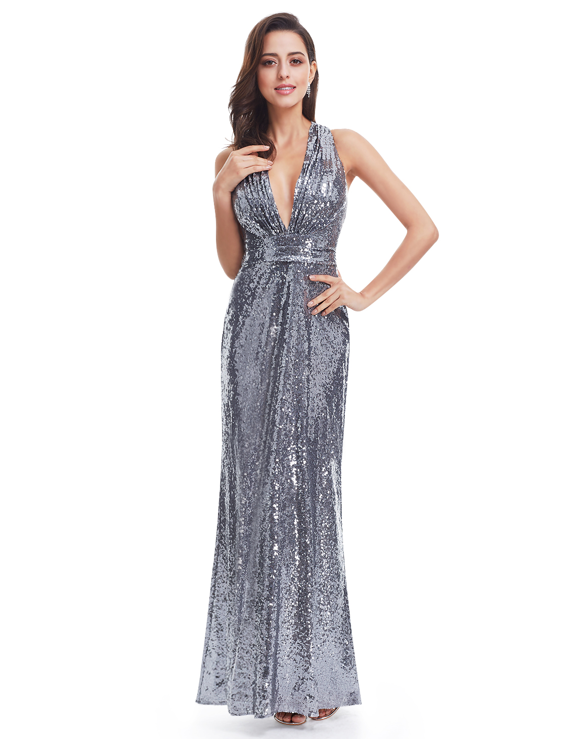 US Long Sequins Party Prom Dress Deep V-Neck Evening Dresses 07109 ...