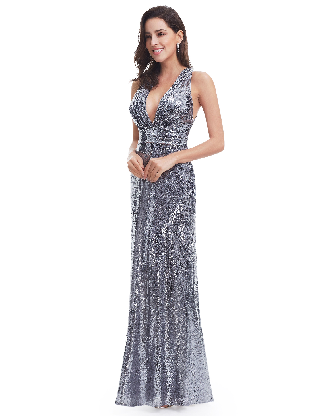 Women sequin long maxi evening dress cocktail ball gown for Evening gown as wedding dress