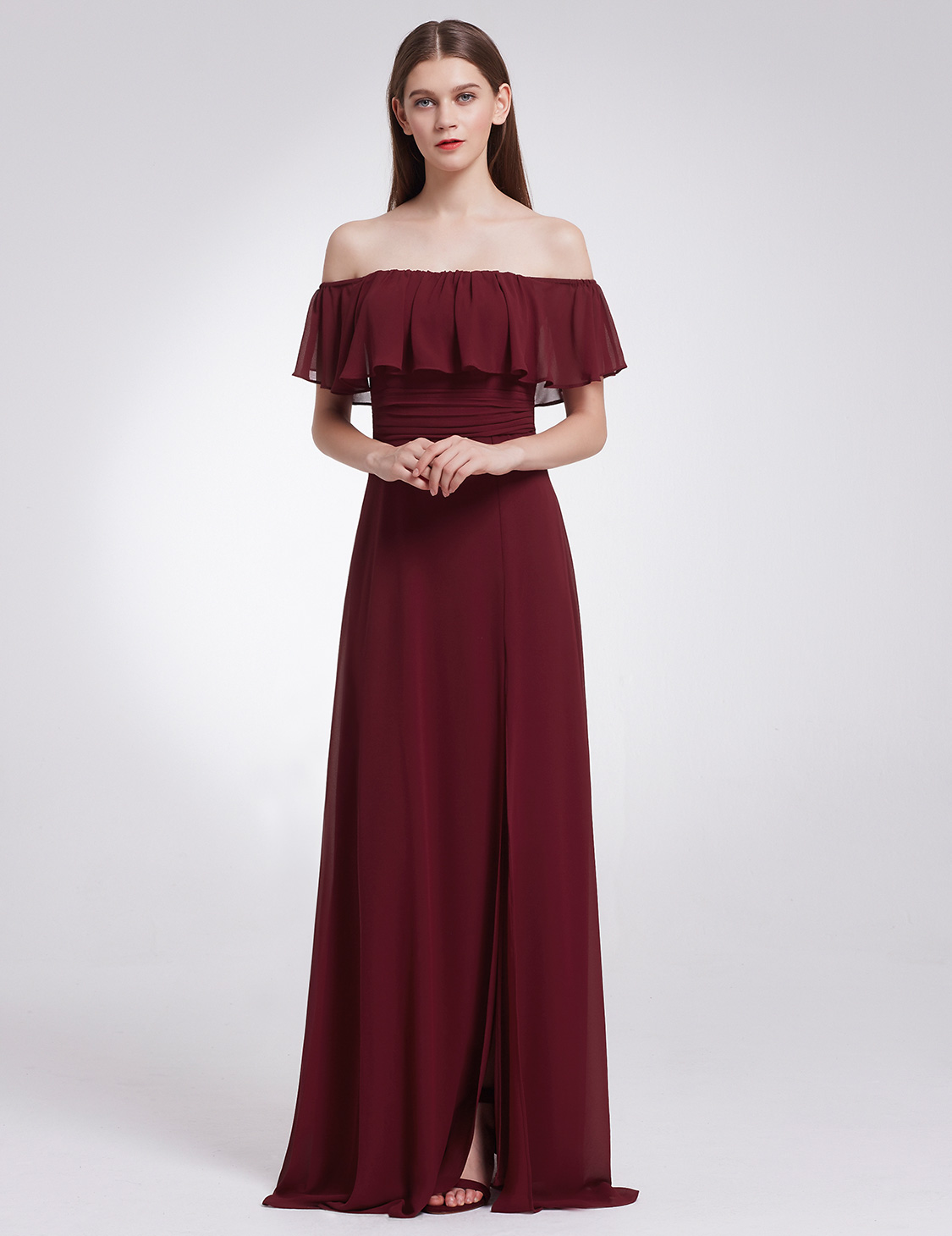 Ever-Pretty Long off Shoulder Bridesmaid Dresses Split Evening Prom ...