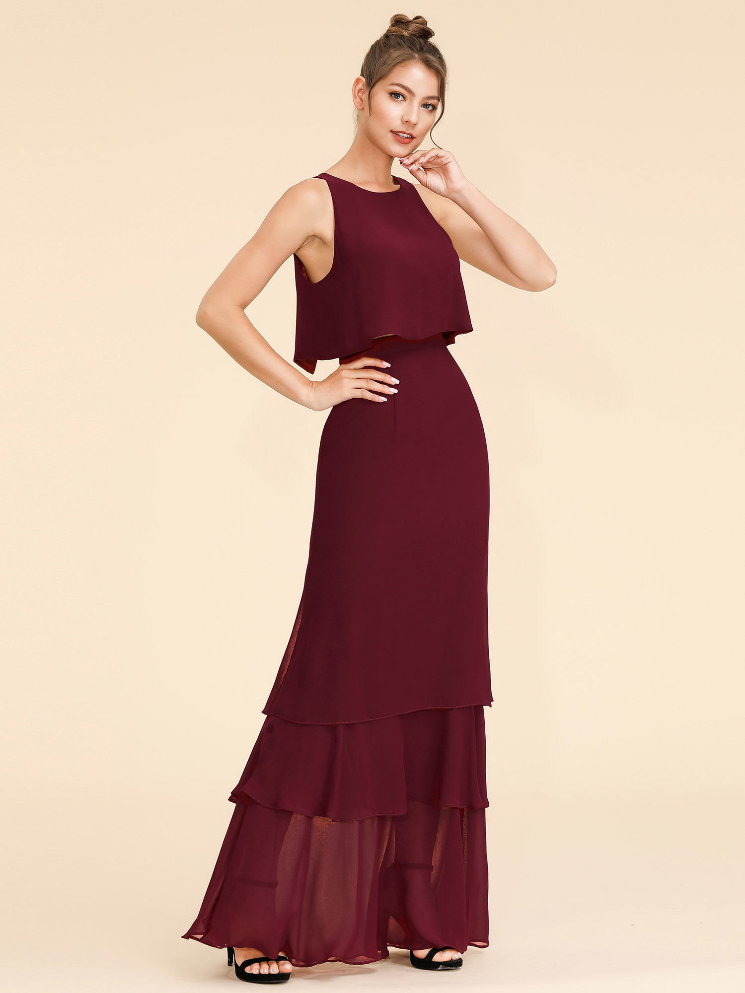 Ever-Pretty US Two Piece Bridesmaid Gown Burgundy Chiffon Formal ...