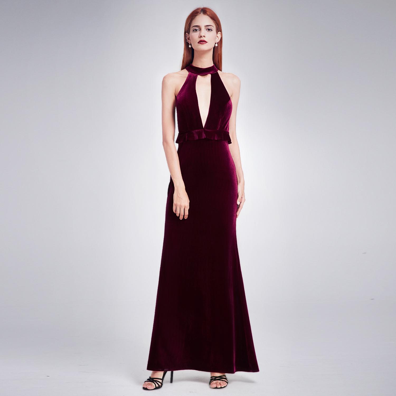 Ever-Pretty Long Velvet Dresses Halter Party Holiday Evening Prom ...