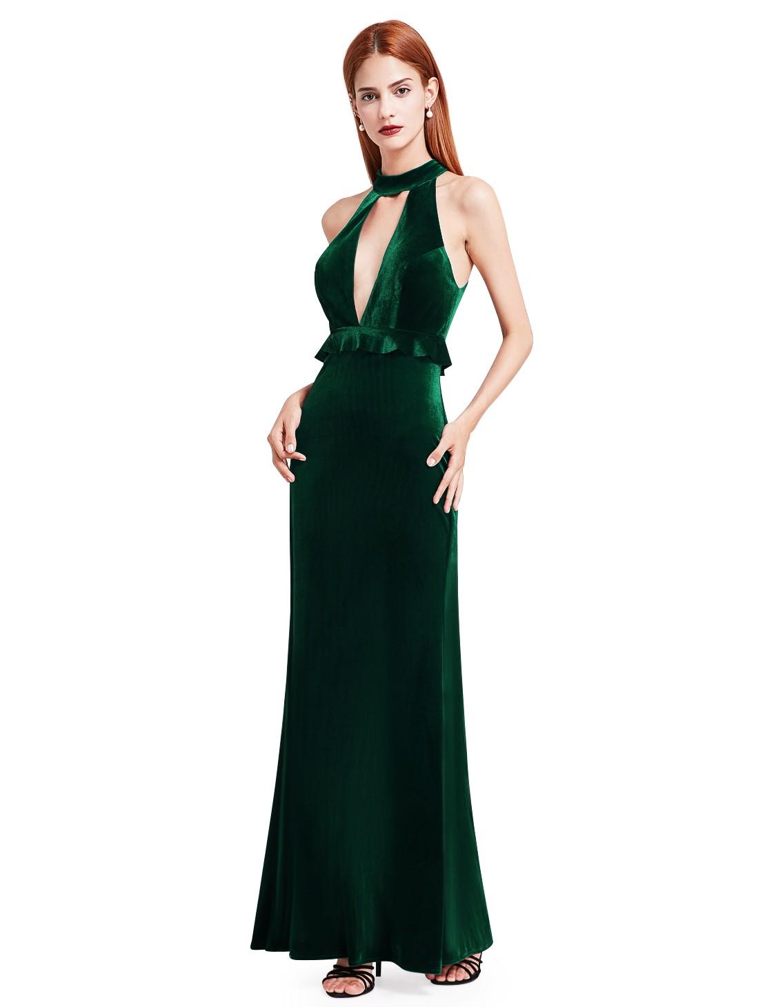 Ever-pretty UK Long Formal Deep Green Velvet Halter Evening Gown ...