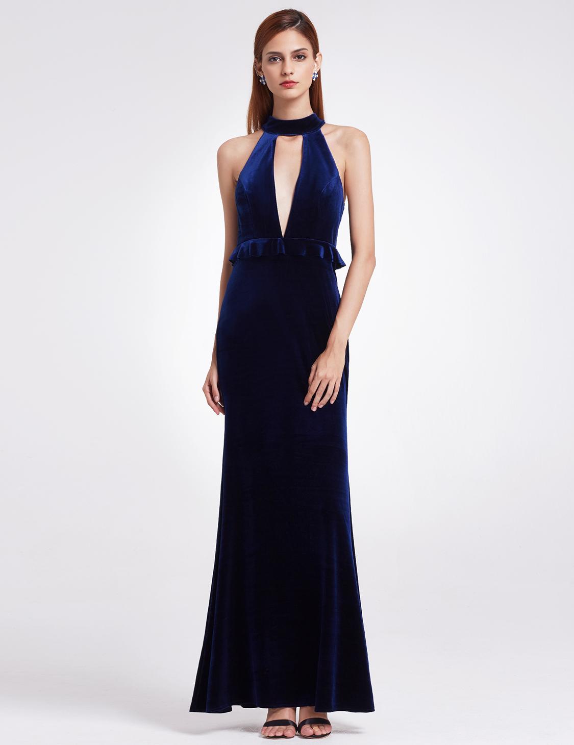 Velvet Evening Dress Deep V-Neck Halter Winter Party Dresses 07180 ...