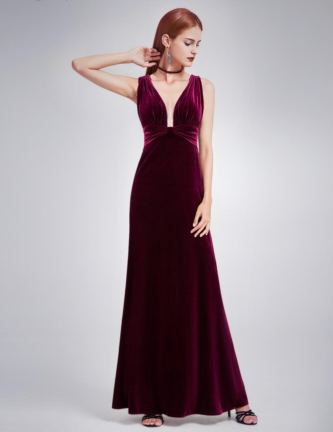 Ever-Pretty Deep V-neck Evening Dresses Long Burgundy Velvet Prom ...