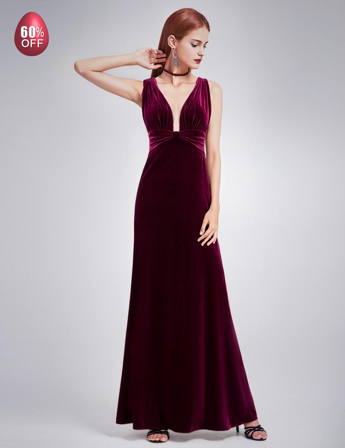 Ever-Pretty Formal Dresses Velvet V Neck Long Evening Party Ball ...