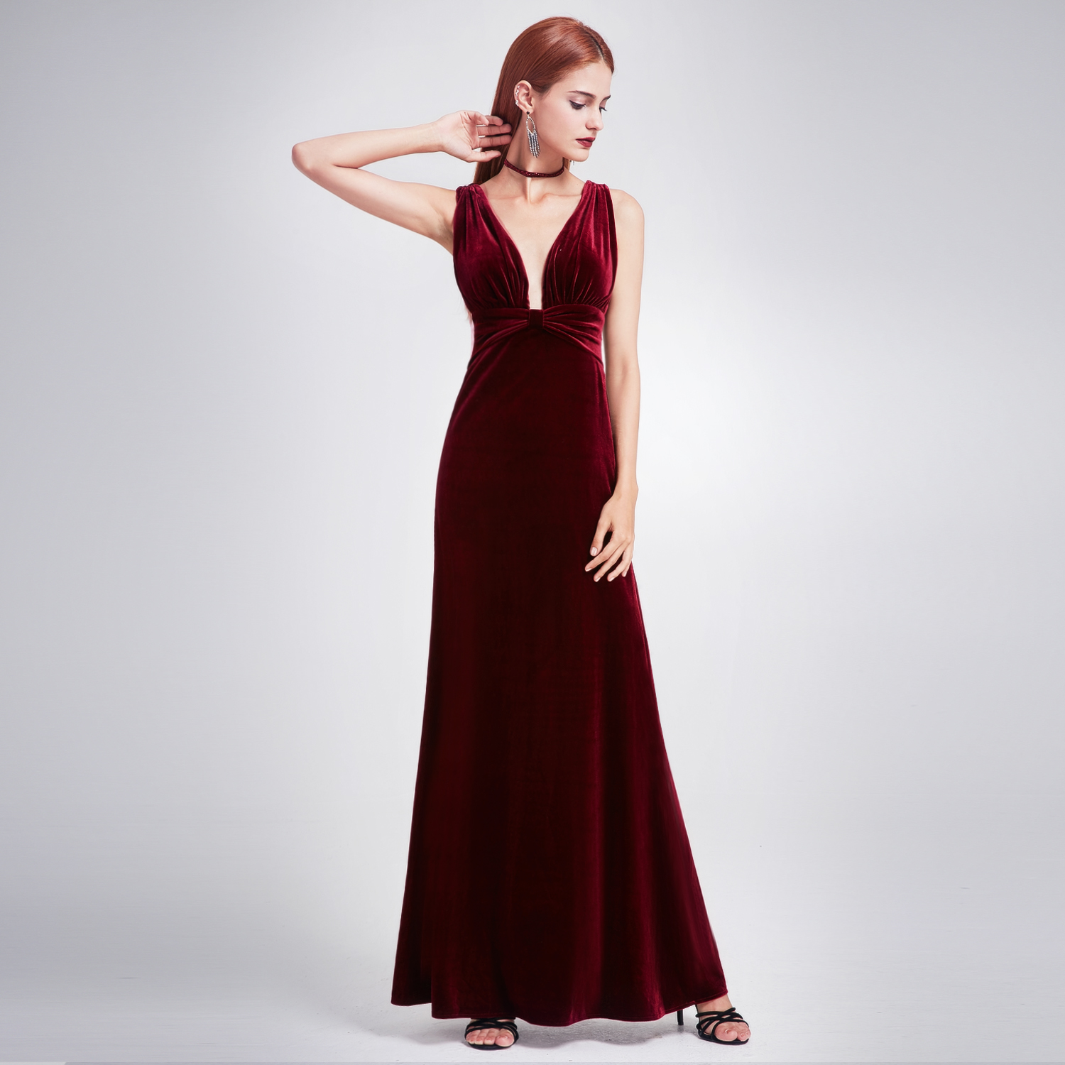 ever pretty deep v neck velvet party gown