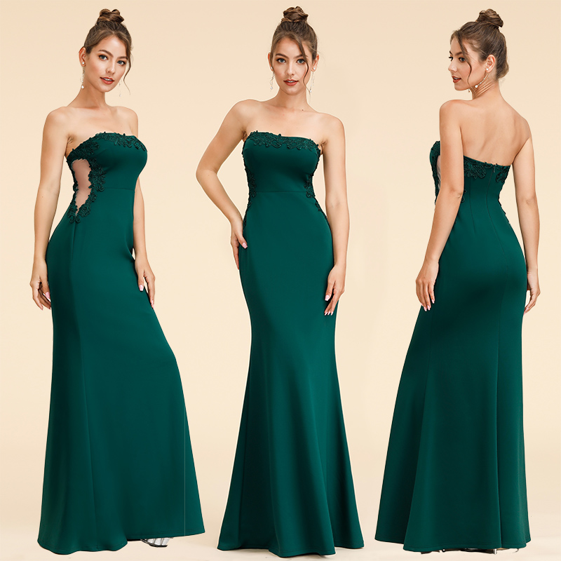 Strapless Prom Dress Dark Green Evening Gown Party Dresses 07187 ...