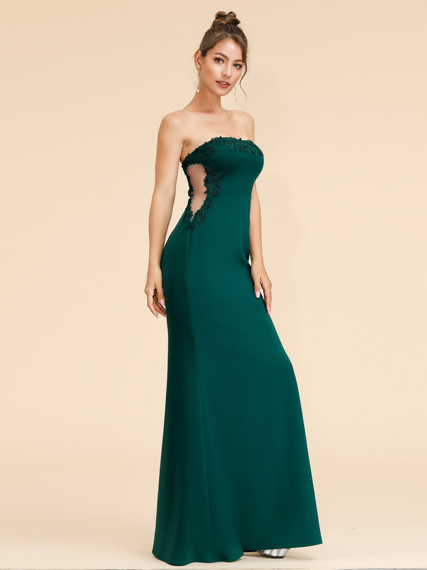 Ever-Pretty Strapless Green Bridesmaid Dresses Long Backless Evening ...