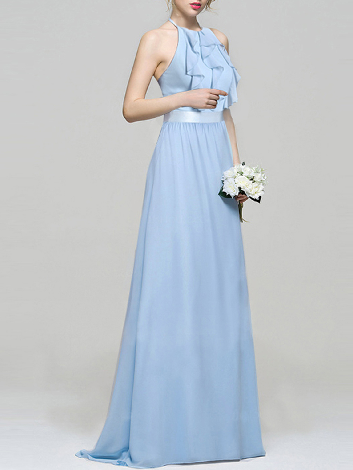 57ed05b9a9052 Ever-pretty Long Chiffon Halter Bridesmaid Dresses Evening Cocktail ...