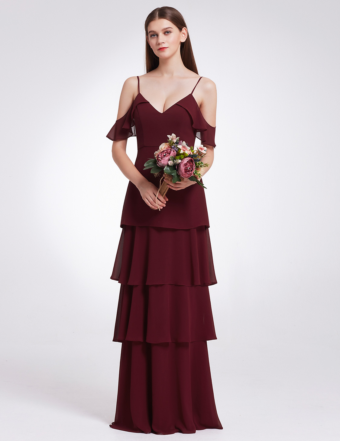 Ever-Pretty 2018 Long V-neck Ruffles Bridesmaid Dress Chiffon ...