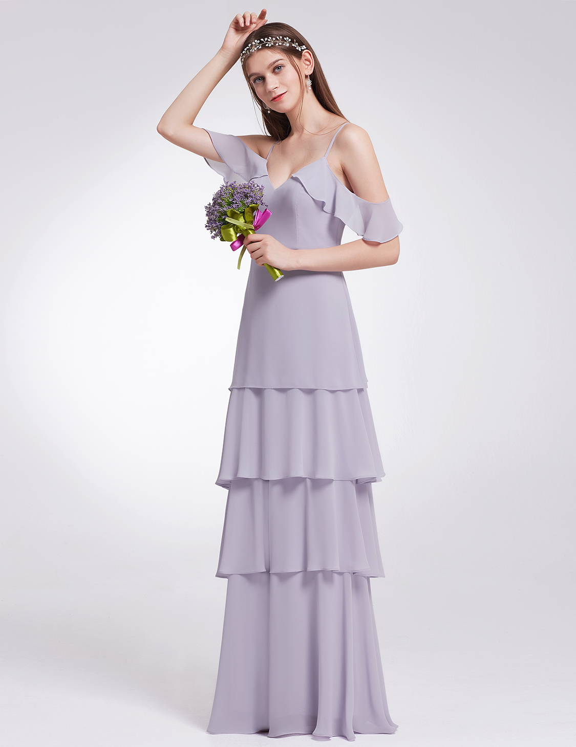 Ever-Pretty Long Ruffles Bridesmaids Dresses Cold Shoulder Wedding Gown 07202
