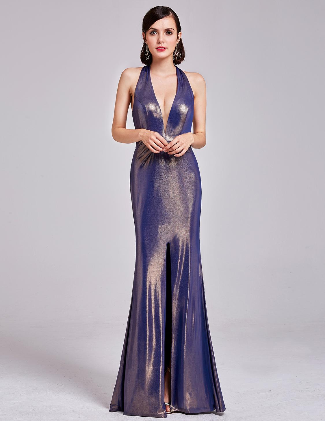 Ever-Pretty Long Split Formal Evening Dress Halter Party Dresses ...