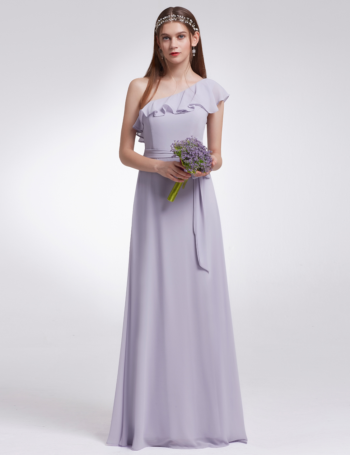 Ever-Pretty Prom Dress Dusty Lilac One Shoulder Bridesmaids Dress ...