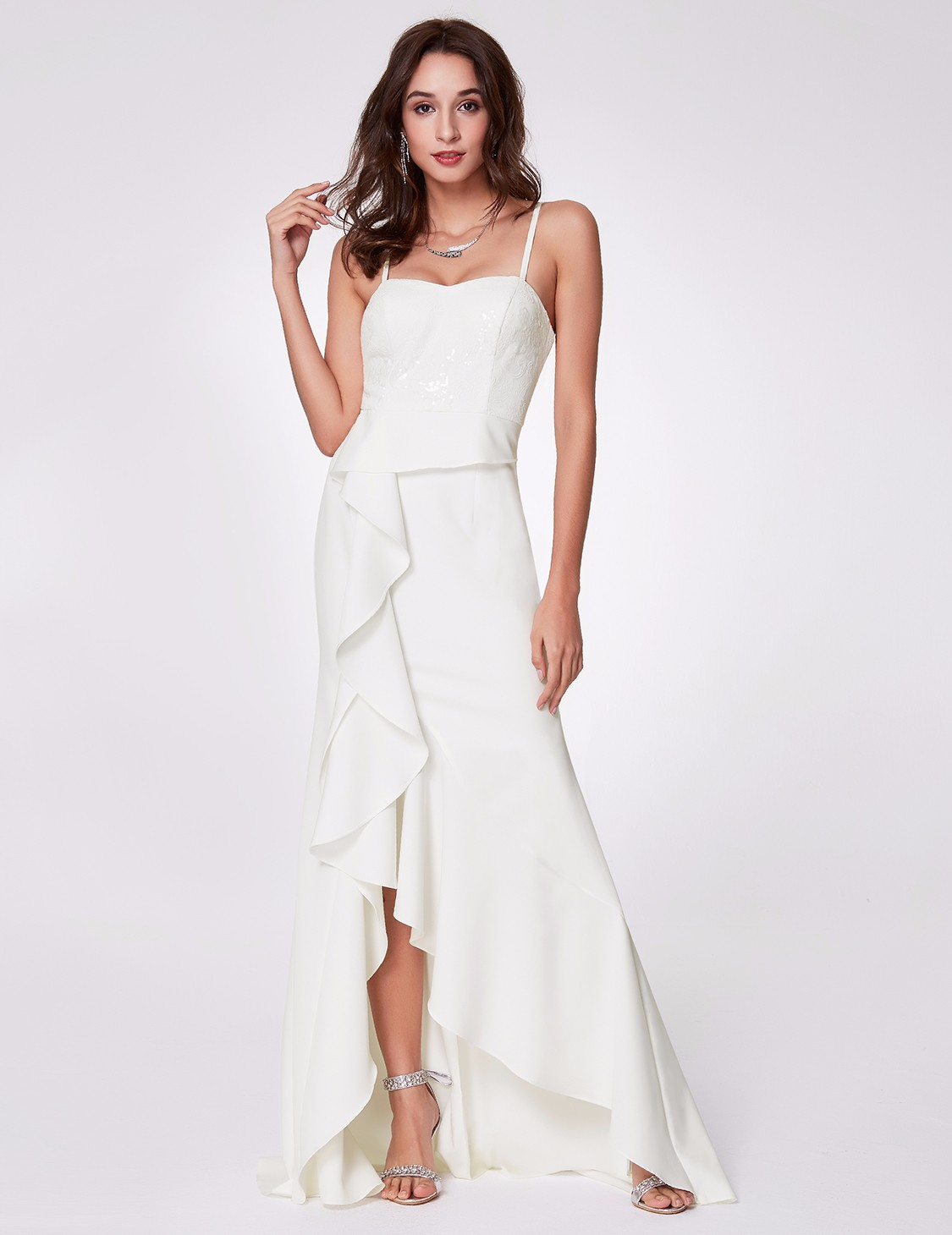 Ever-Pretty Evening Dresses White Formal High Low Prom Bridesmaid ...