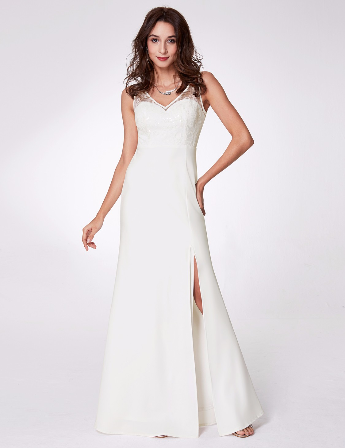 Ever-Pretty Long Formal Evening Dresses White Lace Split Prom Ball ...