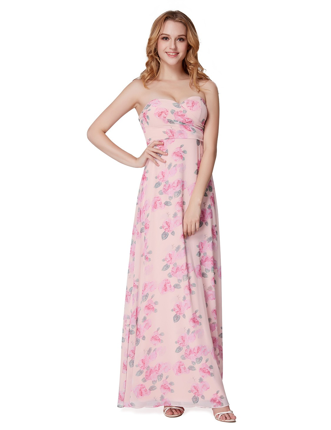 Ever Pretty Flower Printed Evening Dresses Long Strapless Bridesmaid