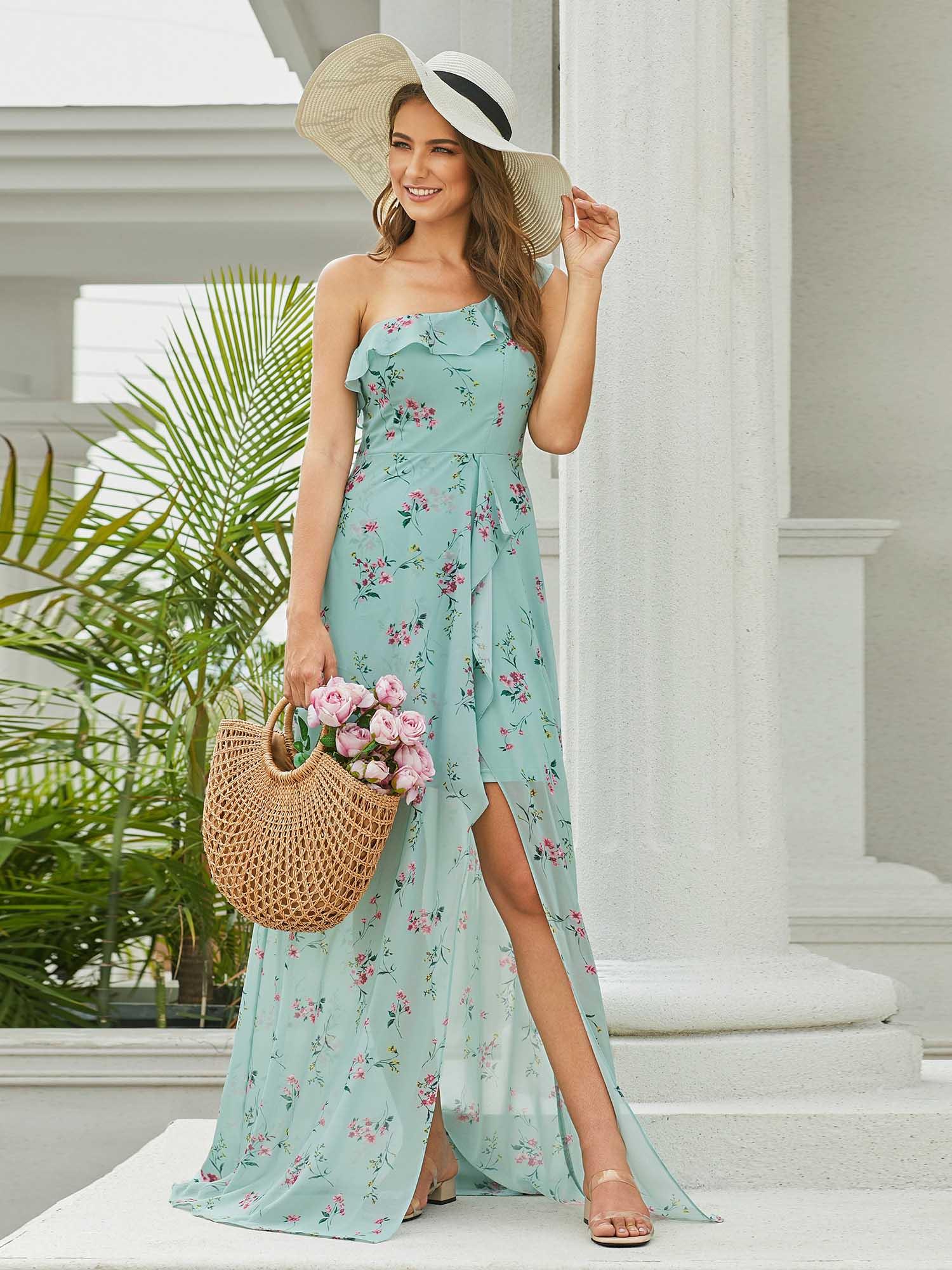 Green Floral Bridesmaid Dress