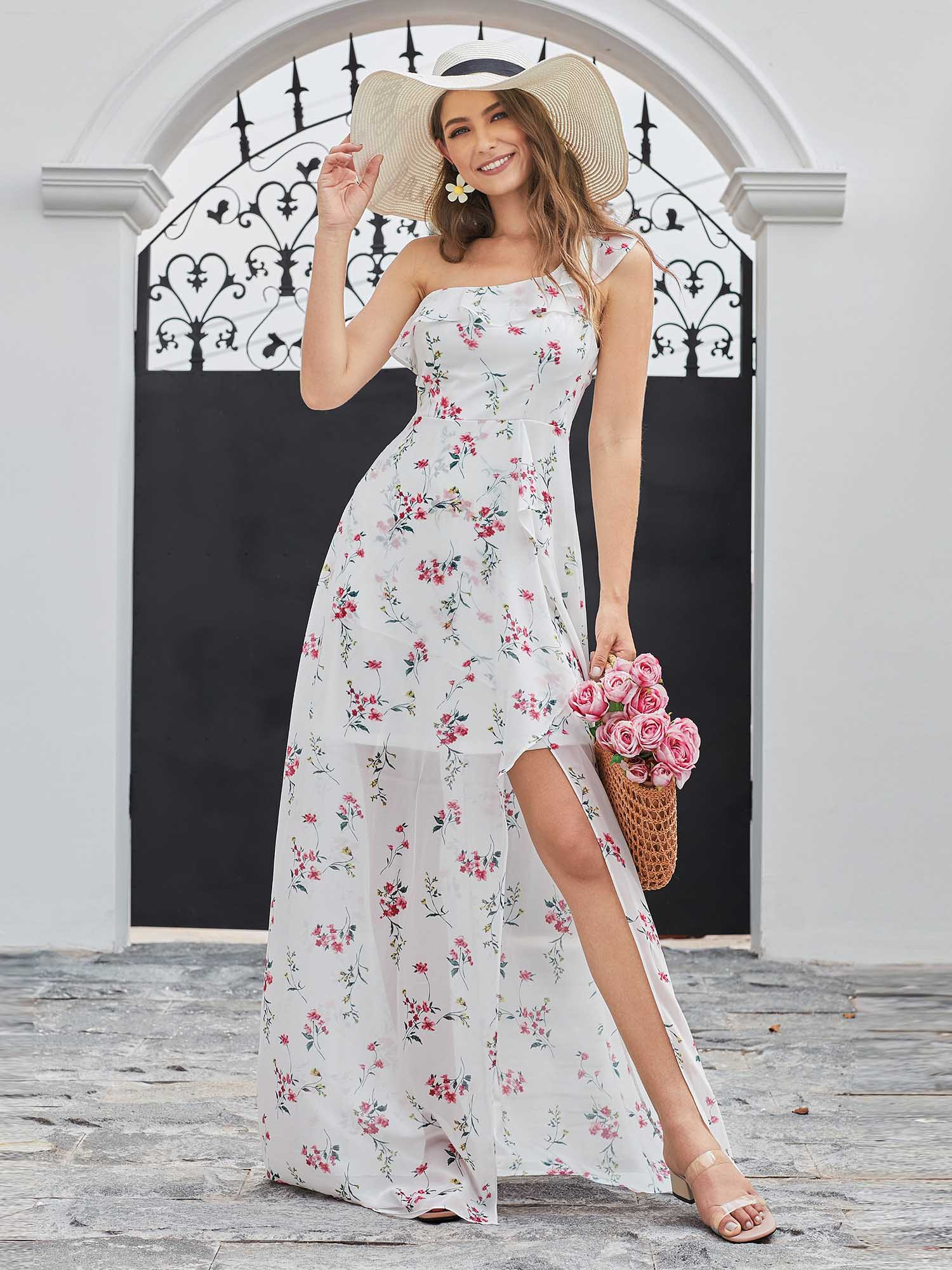 Ever-Pretty Long One Shoulder Split Floral Wedding Dresses Evening ...