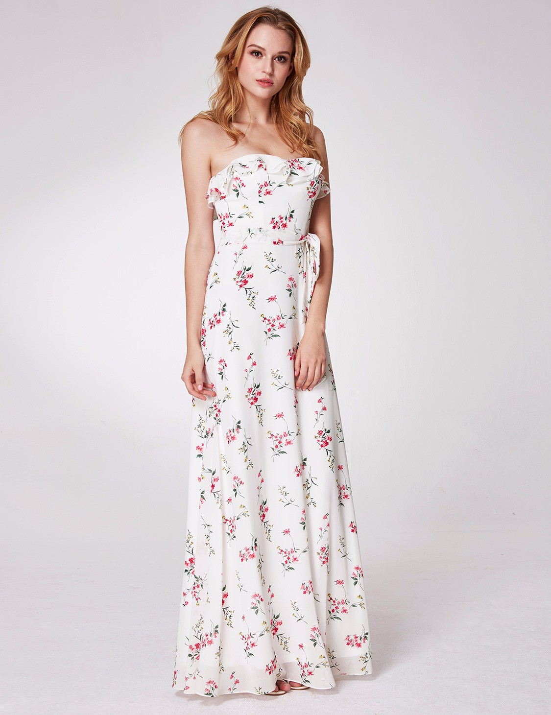 floral maxi dress for wedding pretty floral evening dresses summer strapless maxi 4111