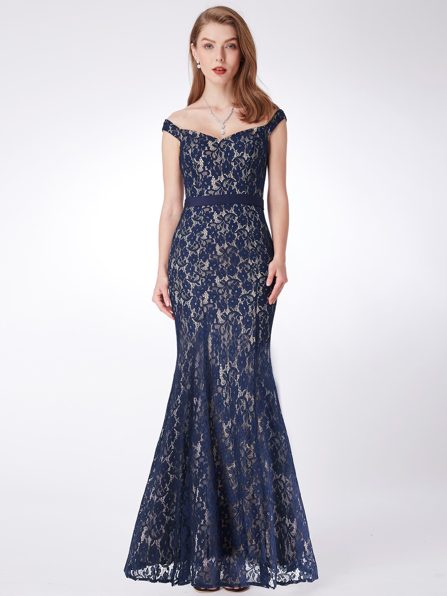 Ever-Pretty Mother of Bride Dresses Elegant Long Lace V-neck Evening ...