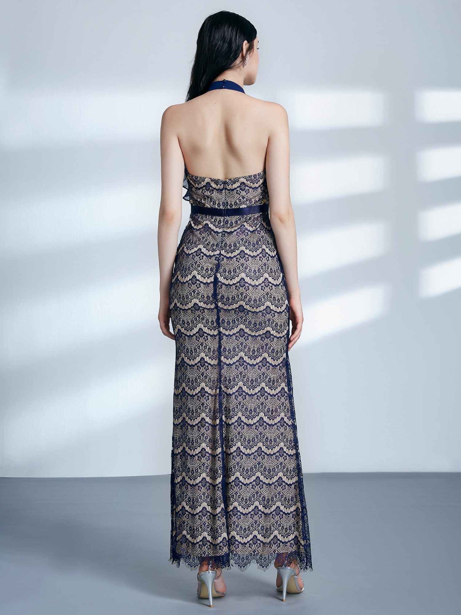 Ever-Pretty Evening Dresses Long Halter Backless Lace Formal Pageant Gown 07322